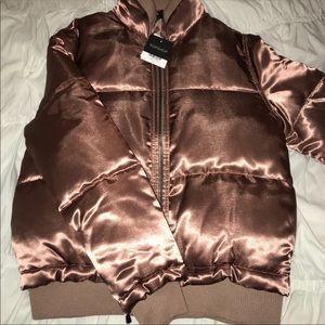 NWOT Topshop rose gold puffer jacket